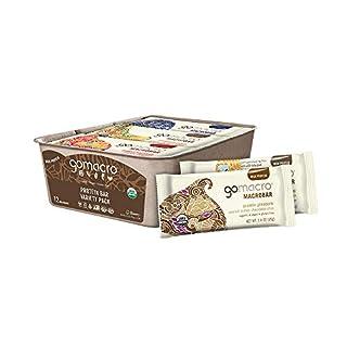 GoMacro MacroBar Organic Vegan Protein Bars - Protein Variety Pack (2.3-2.4 Ounce Bars, 12 Count)