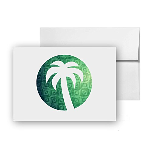 Sunset Palm Tree Island Holiday, Blank Card Invitation Pack, 15 cards at 4x6, with White Envelopes, Item 834468