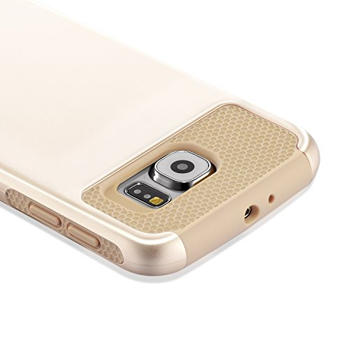 Galaxy S6 Case, technext020 Heavy Duty Armor Rugged Case for Samsung Galaxy S6 Slim Fit Hybrid Dual Layers PC Silicone Gold