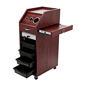 LOCKING Cherry Brown Salon Trolley Cart HAIR WOOD Beauty Salon Shelves Wheels