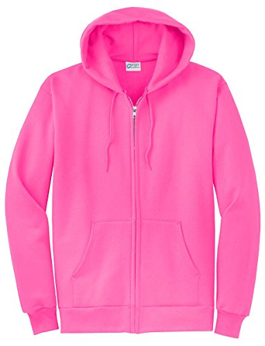 Port & Company Men's Classic Full Zip Hooded Sweatshirt L Neon Pink ()