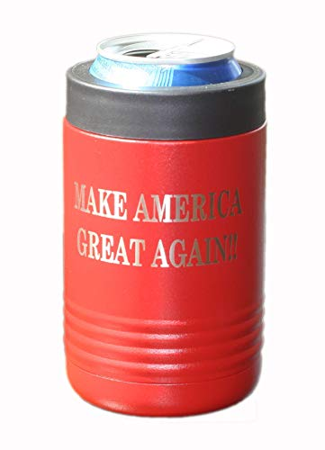 Thomas And Son Designs Beverage Bottle Holder - Double Wall Stainless Steel Insulated Can Holder And Beer Can Holder - Engraved Make America Great Again Can Insulated Holder - American - Engraved Tent Red