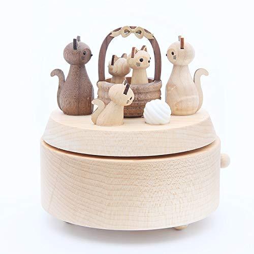 YuLinStyle Spieluhr Segen Katze Spieluhr Holz rotierenden Segen Katze Mädchen Kind Geburtstag schönes Zuhause Dekorationen