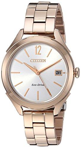 Citizen Gold Bracelets - Citizen Women's 'Drive' Quartz Stainless Steel Casual Watch, Color Rose Gold-Toned (Model: FE6143-56A)