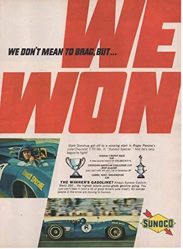(Magazine Print Ad: 1967 Sunoco Custom Blend 260 Gasoline with Driver Mark Donohue in Roger Penske #6 Lola-Chevrolet T-70 Mk II Sunoco Special,