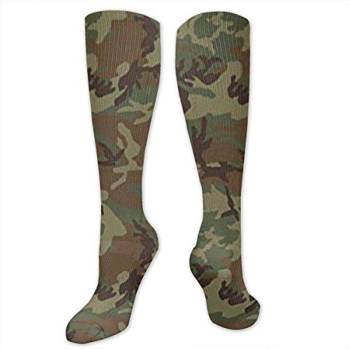 XiaoShuia Woodland Universal Camo Compression Socks for Women & Men-Over The Knee Socks Best for Running, Athletic, Medical, Pregnancy and Travel