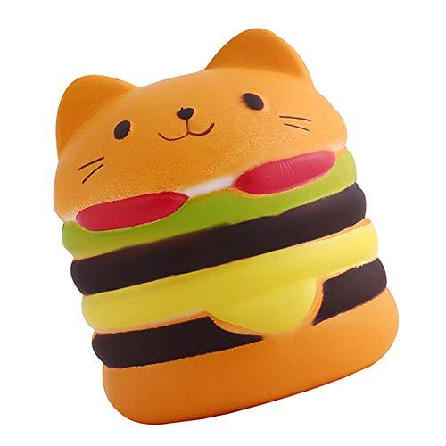 (Macddy 9.5CM Soft Slow Rising Cute Jumbo Squeeze Yummy Hamburger Cat Bear Phone Straps DIY Decor Bread Kids Toy Gift)