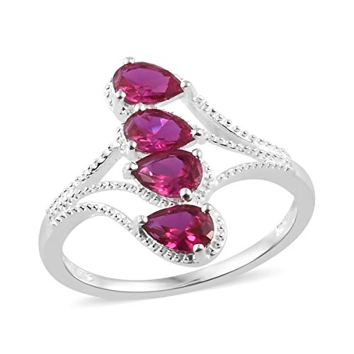 925 Sterling Silver Pear Ruby Cubic Zirconia CZ Statement Ring for Women Size 7 Cttw 1.4