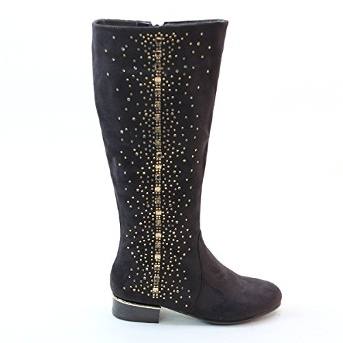 New Brieten Womens Bling Studded Comfort Flats Knee High Boots Coffee X3R6Uk