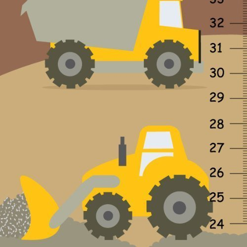 Amazon.com: Construction Canvas HEIGHT CHART for kids - Tractor ...