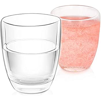 NWK Double Wall Glass Gel Frosty Freeze Cooling Wine Glass, Set of 2, 10oz Stemless Wine Glass