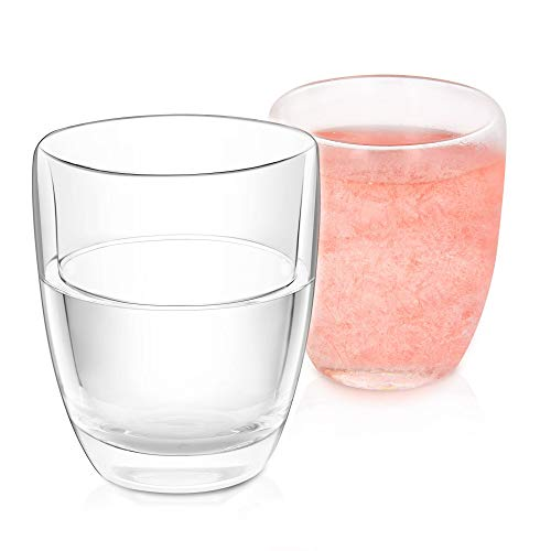 NWK Double Wall Gel Frosty Freeze Cooling Cups (Set of 2), 10oz Stemless Wine Glass, ideal for Gift, BBQ, Pool Party, Outdoor