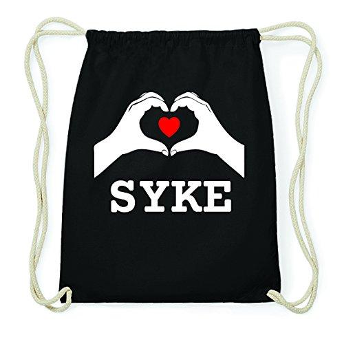 JOllify SYKE Hipster Turnbeutel Tasche Rucksack aus Baumwolle - Farbe: schwarz Design: Hände Herz