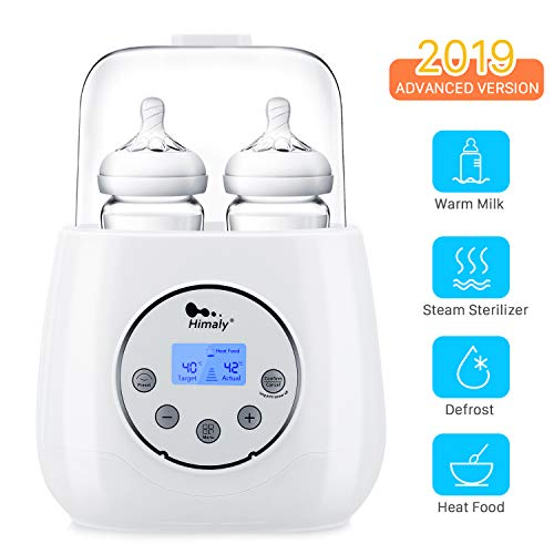 Baby Bottle Warmer, Himaly Bottle Steam Sterilizer 6 in 1 Bottle Warmer for Warm Milk Formula Heat Food Defrost, Baby Food Heater with LED Display and Accurate Temperature Control, Fit Most Bottles