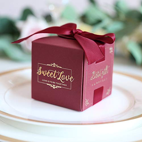 - Doris Home 50 pcs 2.5x2.5x2.5 inch Wedding Party Favor, Wedding Gift Bags Chocolate Candy and Gift Boxes Wedding Party Paper Gift Box Burgundy Boxes with Ribbons (Burgundy)