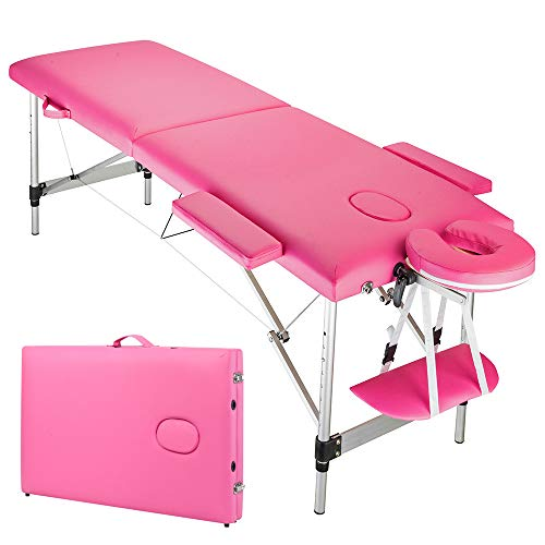 YYAO Massage Table 73 Inch Aluminum alloy Portable Height Adjustable 2 Fold Professional Massage Bed W/Carry Case Spa Bed Beauty Salon Bed
