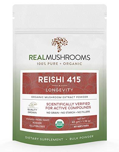 Reishi Mushroom Extract Powder by Real Mushrooms - Certified Organic - Ganoderma Lucidum/Ling Zhi - Immune Booster - 45g Bulk Reishi Mushroom Powder - Perfect for Shakes, Smoothies, Coffee and -
