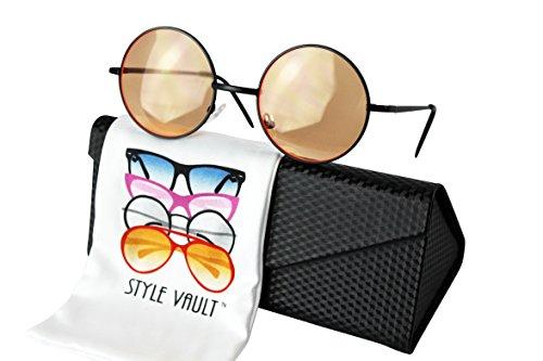 V3132-EC Style Vault Metal Round Lennon sunglasses (B3402F black-orange, - 90s Shades