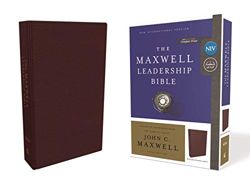 NIV, Maxwell Leadership Bible, 3rd Edition, Premium Bonded Leather, Burgundy, Comfort Print: Holy Bible, New International Version (Premium Bonded Leather)