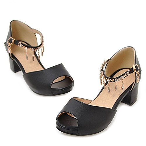 SJJH Sandals with Low Chunky Heel and Shiny Ankle Strap Women Dressy Shoes with Peep Toe and Large Size Black JVoXWpMp