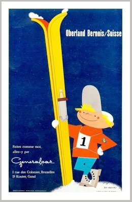 (Berner Oberland Vintage Swiss Ski Poster, Proud Boy With #1 Bib, Image Size 18 x 26.5 inches, Paper Size 19.5 x 27.5 inches)