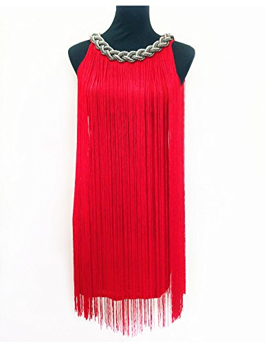 Borla Largas Vestidos Rojo Vestido Latino Mujer Baile Fiesta De Elegante Moderno qg6xAqXy7w