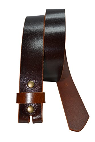 Color Block Genuine Leather - BLS34L - Toneka Color Block One Piece Buffalo Leather Strap Snap On Replacement Belt (34, Brown)