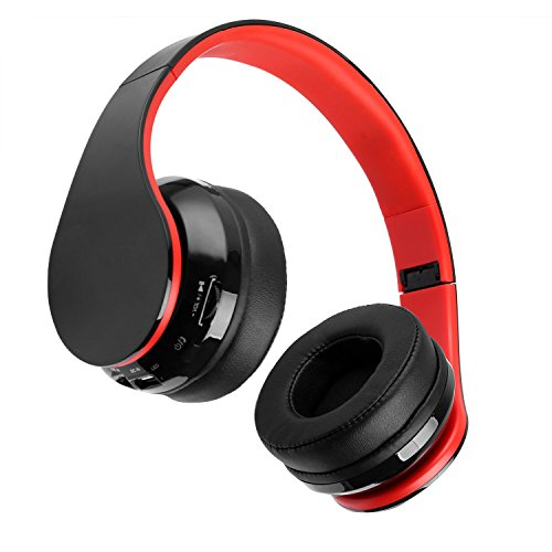 Bluetooth Headphones, Bluetooth Headphones Over Ear, Stereo Wired and Wireless Headphones, Foldable Wireless Headset with Soft Memory-Protein Earmuffs, Built-in Mic for PC/Cell Phones/TV - Red