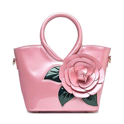 Sacs Portés à rouge Bandoulière Verni Main Fleurs Main Bandoulière Sacs Sac Rose Cuir Femme Rose KAXIDY aw8Sq