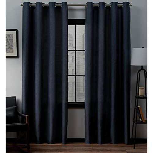 Exclusive Home Curtains Loha Linen Grommet Top Curtain Panel Pair, 52x84, Peacoat Blue (Barn Inspired Pottery Rooms)