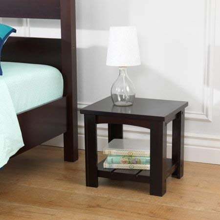 Classic 2-Tier Night Stand with Lower Shelf for Additional Storage and Display Space, Perfect for Your Bedroom,Durable and Long Lasting MDF Wood Construction, Contemporary Style, Espresso Finish