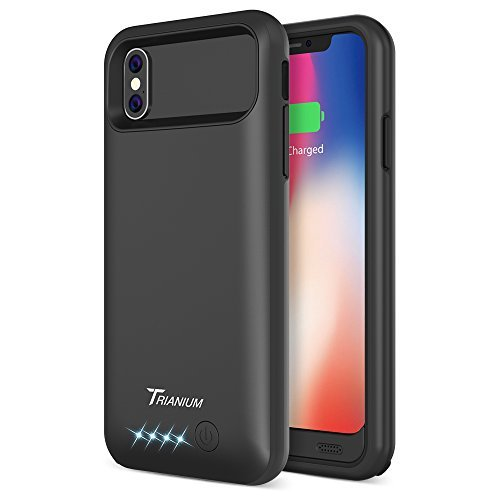 iPhone X Battery Case, Trianium Atomic Pro iPhone X Case Battery with 4000mAh Portable Charging Cover [Black] iPhone 10 Extended Power Juice Bank [Not Support Wireless Charger/Apple Certified Part]