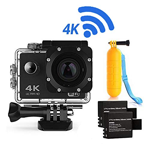 (Action Camera 4K16MP WiFi Waterproof Sports Diving Cam DV Camcorder 170?? Ultra Wide-Angle Len Sensor 2 Rechargeable Batteries/Floating Hand Grip Accessories)