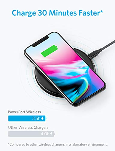 Large Product Image of Wireless Charger, Anker Qi-Certified Ultra-Slim Wireless Charger Compatible iPhone X, iPhone 8/8 Plus, Samsung Galaxy S9 / S9+/ S8/ S8+ / S7 / Note 8 and More, PowerPort Wireless 5 Pad (No AC Adapter)