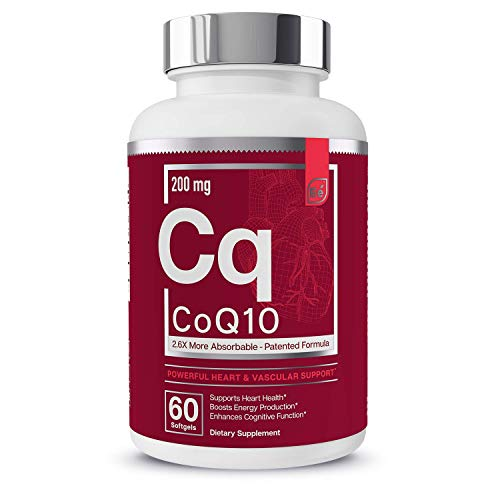 CoQ10 Heart, Brain, and Vascular Support | 200 mg Clinically Proven, Patented Formula - Essential Elements | 2.6 Times Higher Absorption - 60 Softgels, 2 Month Supply