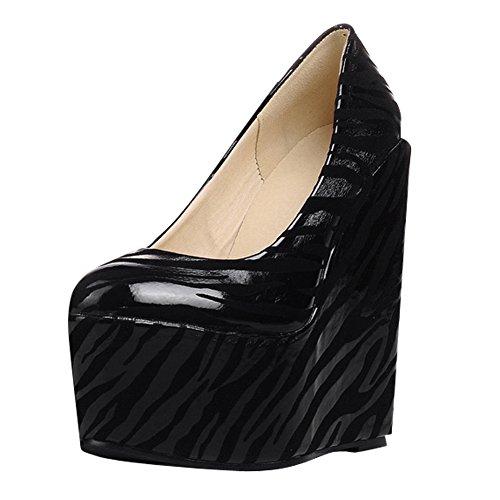 Show Shine Dames Slip Op Pumps Wedges Hak Platform Loafers Schoenen Zwart
