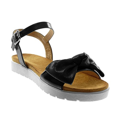 Angkorly Damen Schuhe Sandalen - Knöchelriemen - Sneaker Sohle - Knoten - Glänzende - String Tanga Flache Ferse 3 cm Schwarz