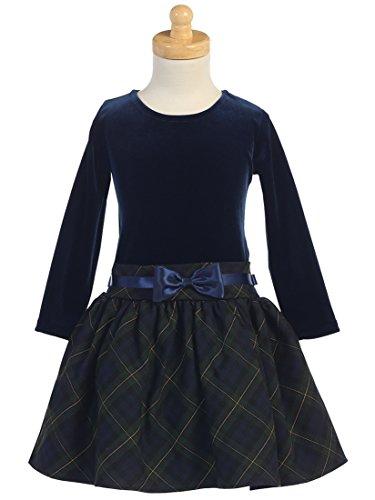 Girls Christmas/Holiday Long Sleeve Velvet and Plaid Dress (5, Navy/Green)