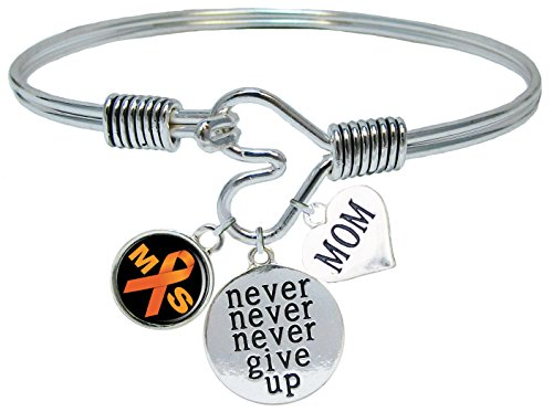 Custom Multiple Sclerosis MS Awareness Never Give Up CHOOSE MOM OR DAD CHARM ONLY Bracelet Jewelry]()