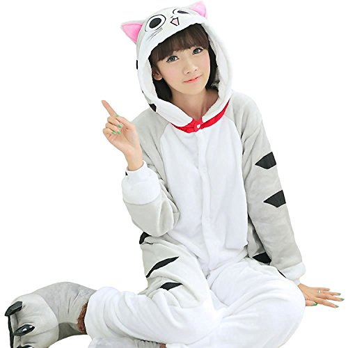 Lazutom Unisex Adult Cute Animal Costume Onesie Jumpsuit Cosplay Overall Pyjamas for Carnival or Halloween (XL, Chi's Cat) -