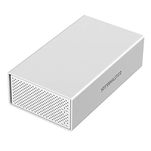 Yottamaster Aluminum Alloy 2 Bay 3.5 inch USB3.0 Hard Drive RAID External Array Enclosure for SATA HDD 2 x 10TB Support & UASP -Silver