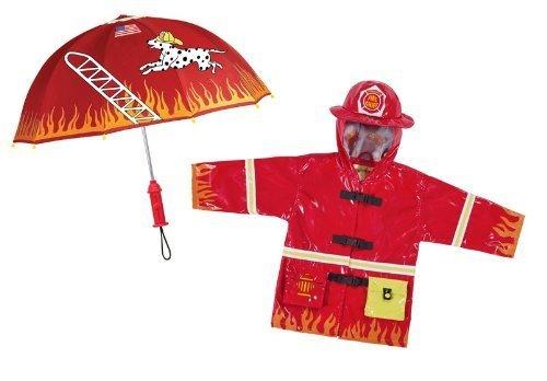 Kidorable Fireman Rain Coat and Umbrella Set (4T) FM