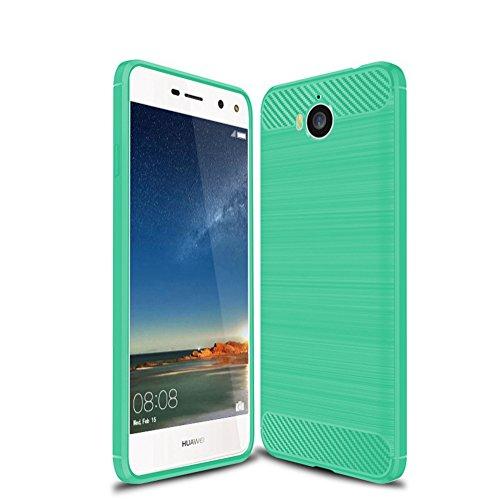 Funda Huawei Y6 2017,Funda Fibra de carbono Alta Calidad Anti-Rasguño y Resistente Huellas Dactilares Totalmente Protectora Caso de Cuero Cover Case Adecuado para el Huawei Y6 2017 E