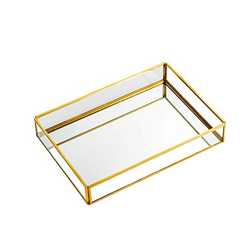 Gold Mirror Tray Vintage Glass Tray Mirrored Tray Decorative Tray Perfume Tray Dresser Tray Jewelry Makeup Vanity Organizer Ornate Vanity Décor for Home Bathroom Hotel 8