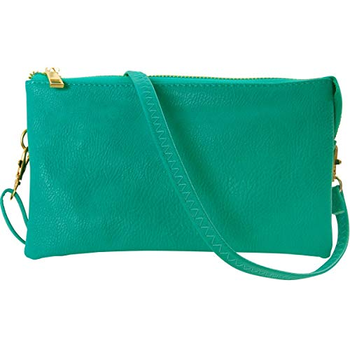(Humble Chic Vegan Leather Small Crossbody Bag or Wristlet Clutch Purse, Includes Adjustable Shoulder and Wrist Straps, Turquoise, Teal, Aqua)