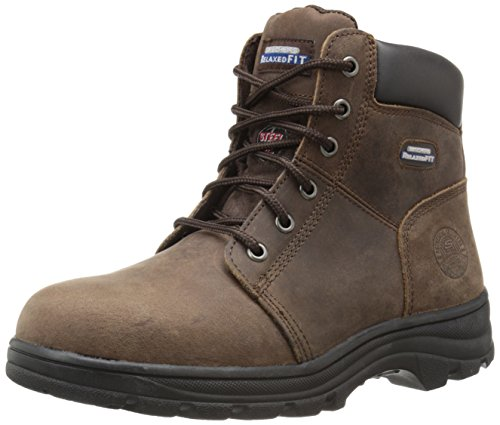 Skechers for Work Women's Workshire Peril Boot, Dark Brown, 6 M US