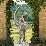 Gartentraum Große Steinguss Elfenfigur - Marianne, Antikgrau