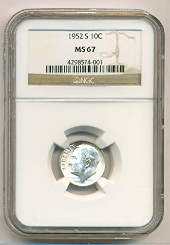 - 1952 S Roosevelt Dime MS67 NGC