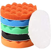 """ZFE 7 Pcs 3""""/80mm Compound Drill Buffing Sponge Pads Kit for Car Sanding, Polishing, Waxing (5 Buffing Pads+1 Woolen pad+1 backing plate+1 Drill Adapter ) For Car Polisher Boat Polishing,Motocycle etc"""