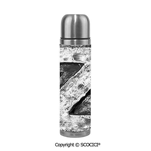 - Double Wall Vacuum Insulated Stainless Steel Water Bottle Capital Z Letter Name Identity Initials Vip Rusty Tone Effects Aged Look Print Decorative Travel Mug Thermos 17.6 OZ Insulation Pot